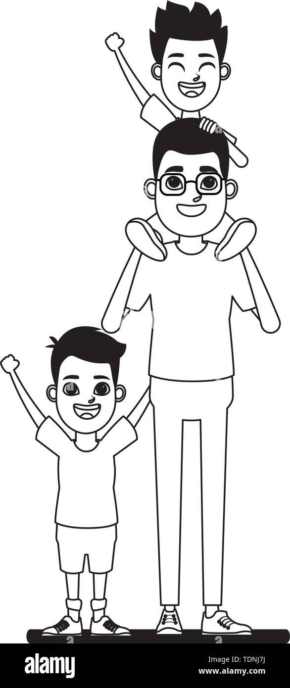 Familie avatar Vater mit Brille tragen ein Junge in der Schulter neben einem Kind Profil Bild cartoon Charakter Stockbild