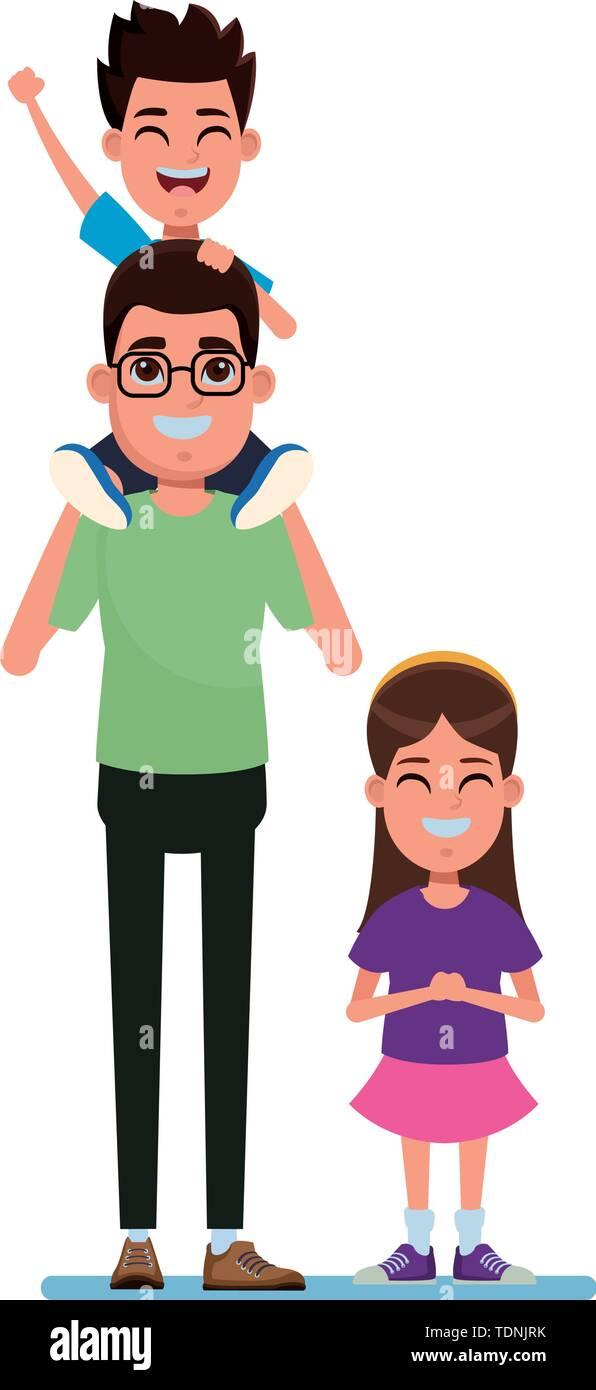 Familie avatar Vater mit Brille tragen ein Junge in der Schulter neben einem Kind Profil Bild Cartoon Character portrait Vektor-illustration graphi Stockbild