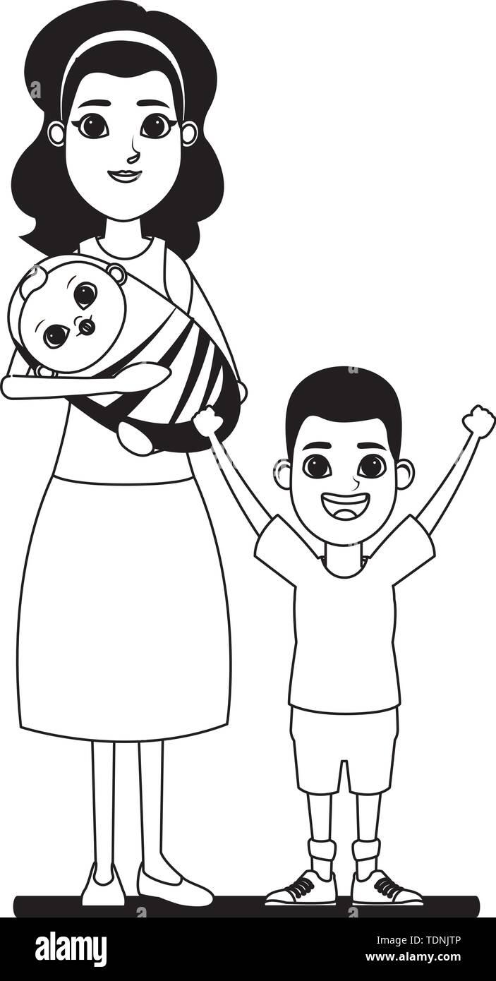 Familie avatar Mutter mit bandana Holding ein baby Neben afroamerican junge Profil Bild Cartoon Character portrait in Schwarzweiß Vektor illustr Stockbild