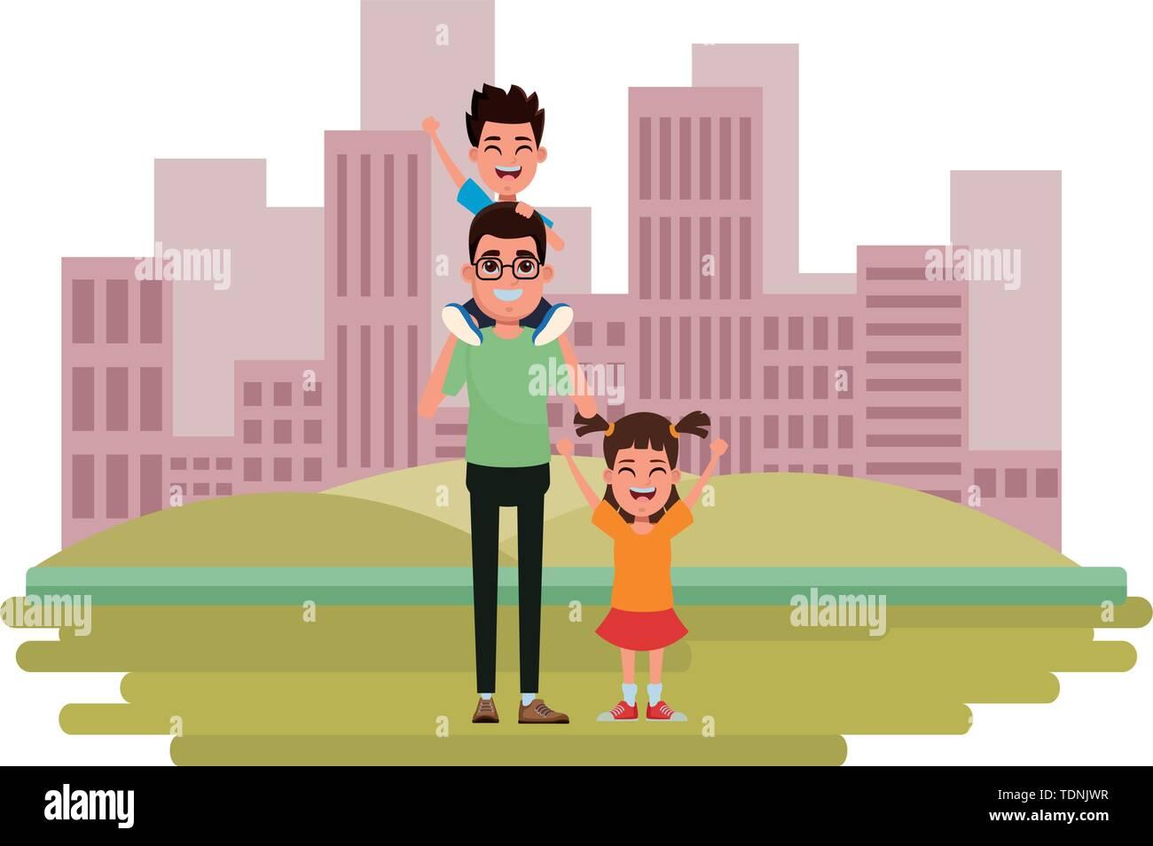 Familie avatar Vater mit Brille tragen ein Junge in der Schulter neben einem Kind Profil Bild Cartoon Character Portrait über die Stockbild