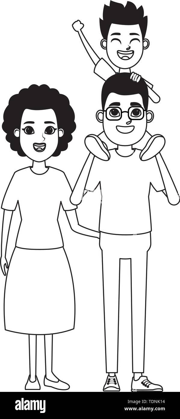 Familie avatar Vater mit Brille tragen ein Junge in der Schulter und afroamerican Großmutter Profil Bild cartoon Charakter Stockbild