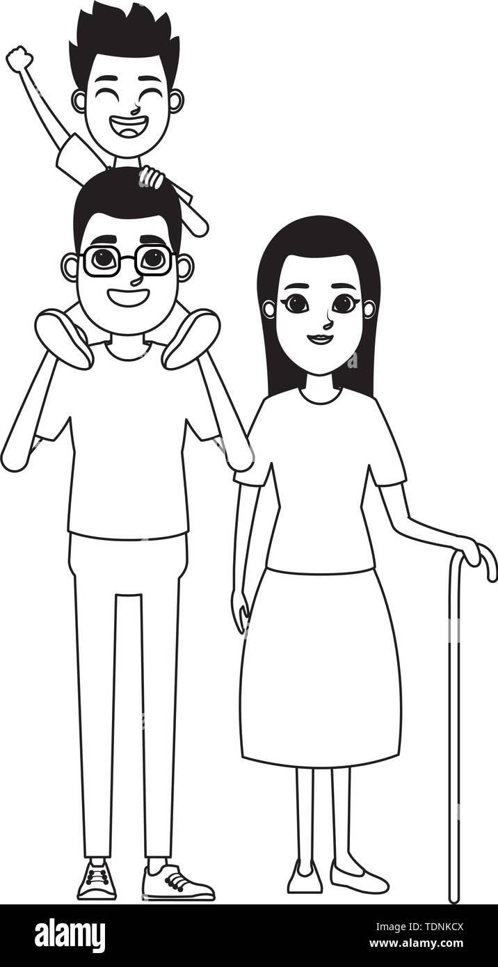 Familie avatar Vater mit Brille tragen ein Junge in der Schulter und Großmutter mit Zuckerrohr Profil Bild cartoon Charakter Stockbild