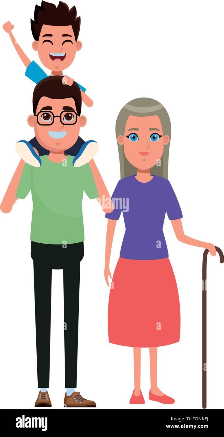 Familie avatar Vater mit Brille tragen ein Junge in der Schulter und Großmutter mit Zuckerrohr Profil Bild Cartoon Character portrait Vektor Lllustrat Stockbild