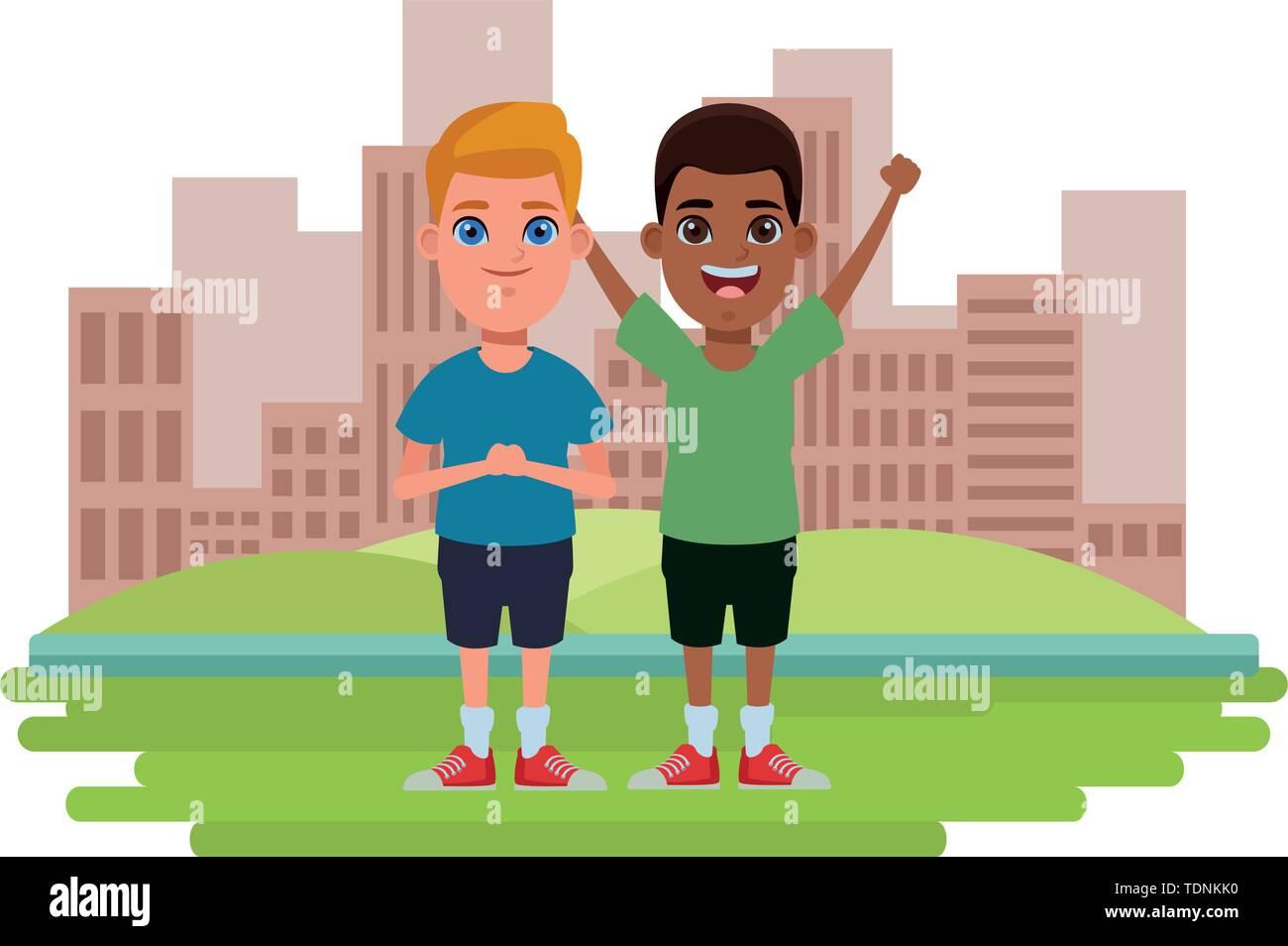 Zwei Kinder afroamerican Junge mit Händen und blonde Junge Profil Bild Cartoon Character Portrait über das Gras mit Stockbild