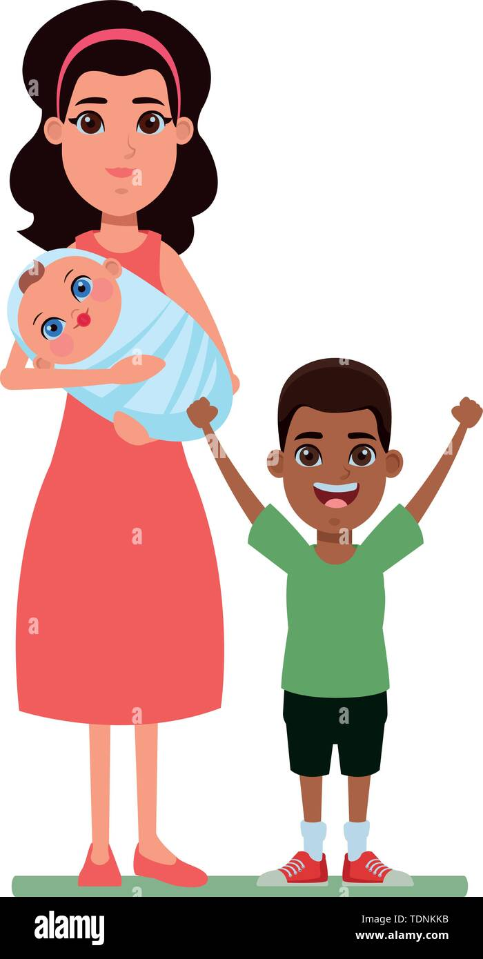 Familie avatar Mutter mit bandana Holding ein baby Neben junge Profil Bild cartoon afroamerican Charakter portrait Vector Illustration graphic Desig Stockbild