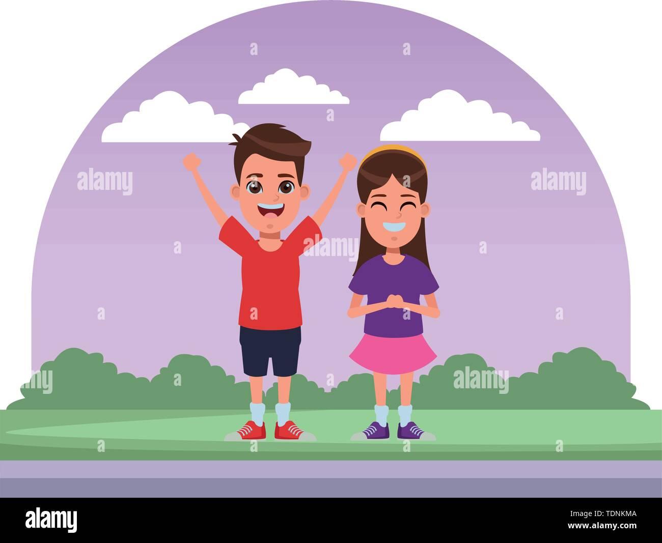 Zwei Kinder Mädchen mit Kopftuch Lächeln und Junge mit hands up Profil Bild Cartoon Character Portrait in der Straße mit Bäumen Stockbild