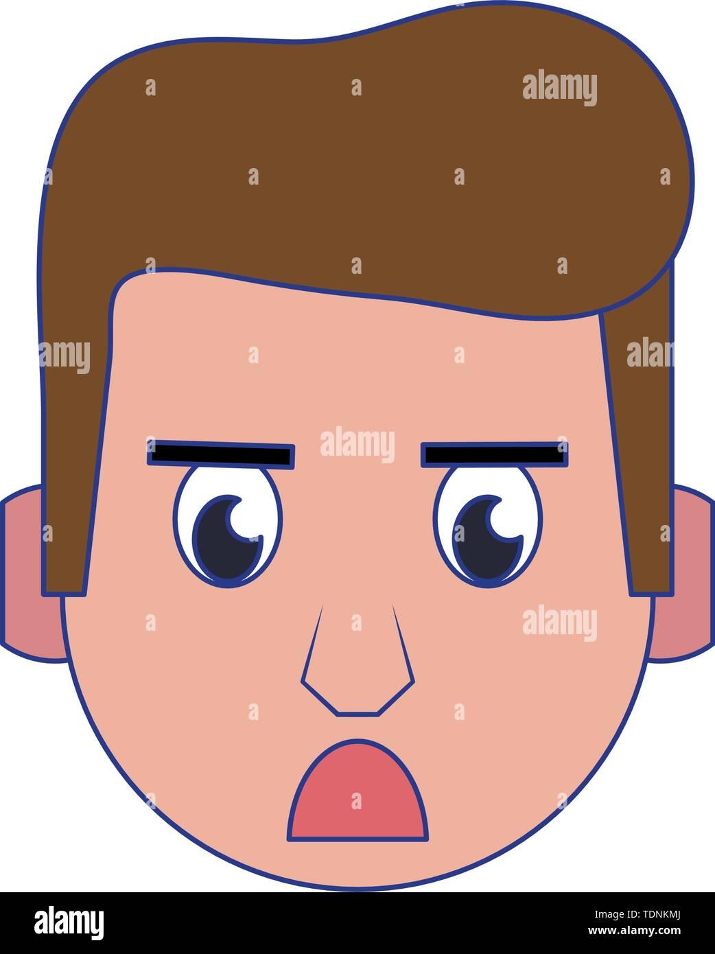 Mann wütend Kopf Charakter cartoon Vector Illustration graphic design Stockbild