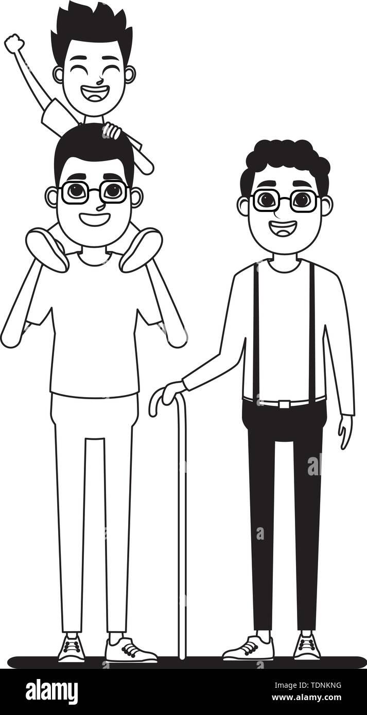 Familie avatar Vater mit Brille tragen ein Junge in der Schulter und afroamerican Großvater mit glasse und Zuckerrohr Profil Stockbild