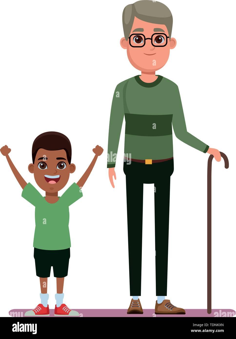Familie avatar Großvater mit Brille und Zuckerrohr Neben junge Profil Bild cartoon afroamerican Charakter portrait Vector Illustration graphic design Stockbild