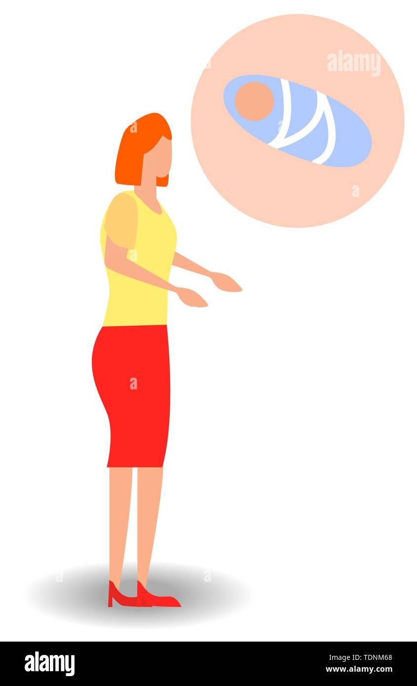 Eine Frau träumt von einem Kind. Schwangere Frau träumt davon, ihr Baby Stockbild