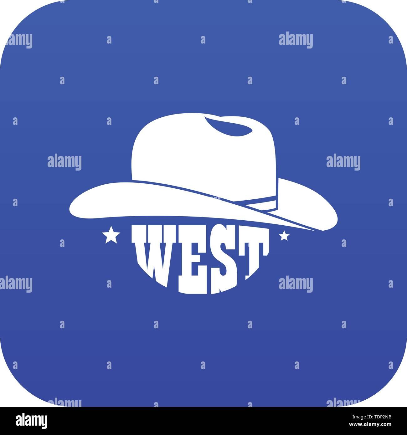 Wild West Cowboy Hut blau Vektor Symbol auf weißem Hintergrund Stockbild