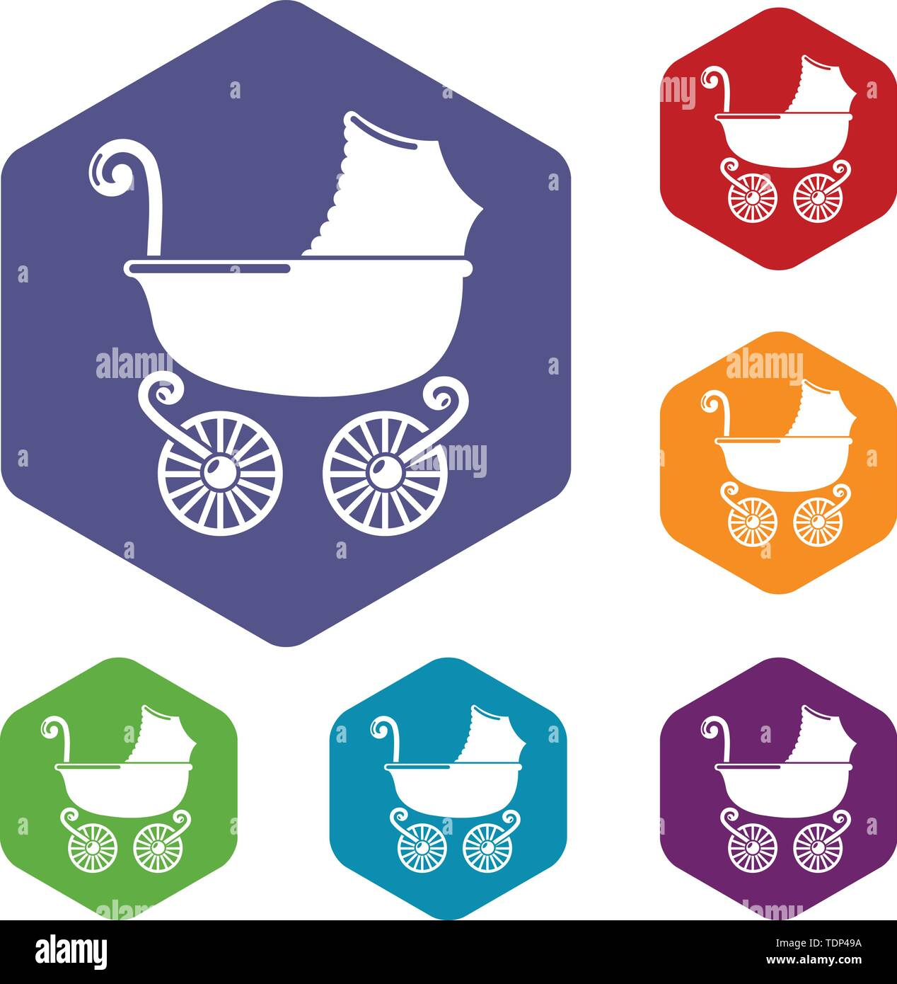 Kinderwagen vintage Symbole Vektor hexaeder Stockbild