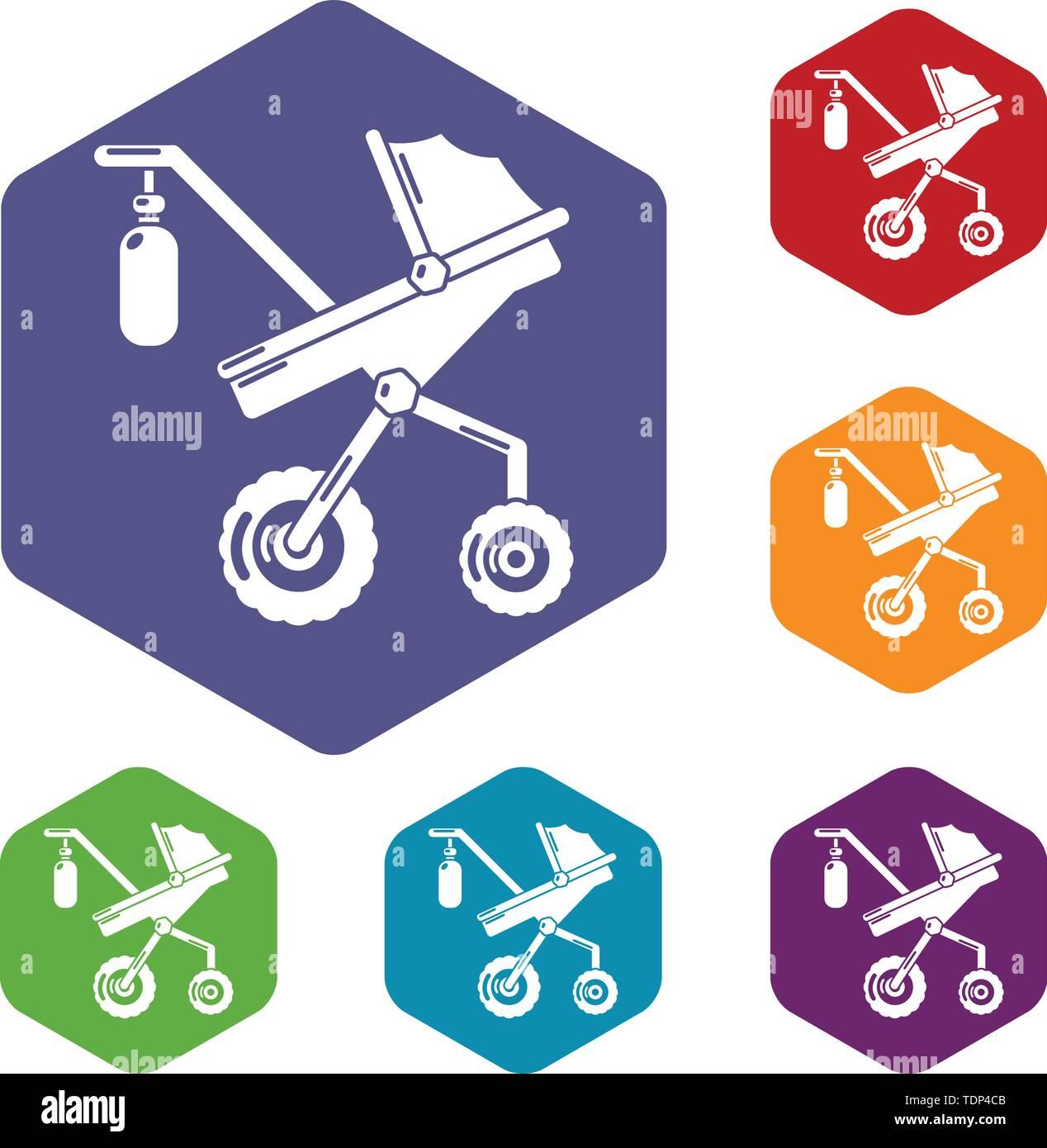 Kinderwagen klassische Symbole Vektor hexaeder Stockbild
