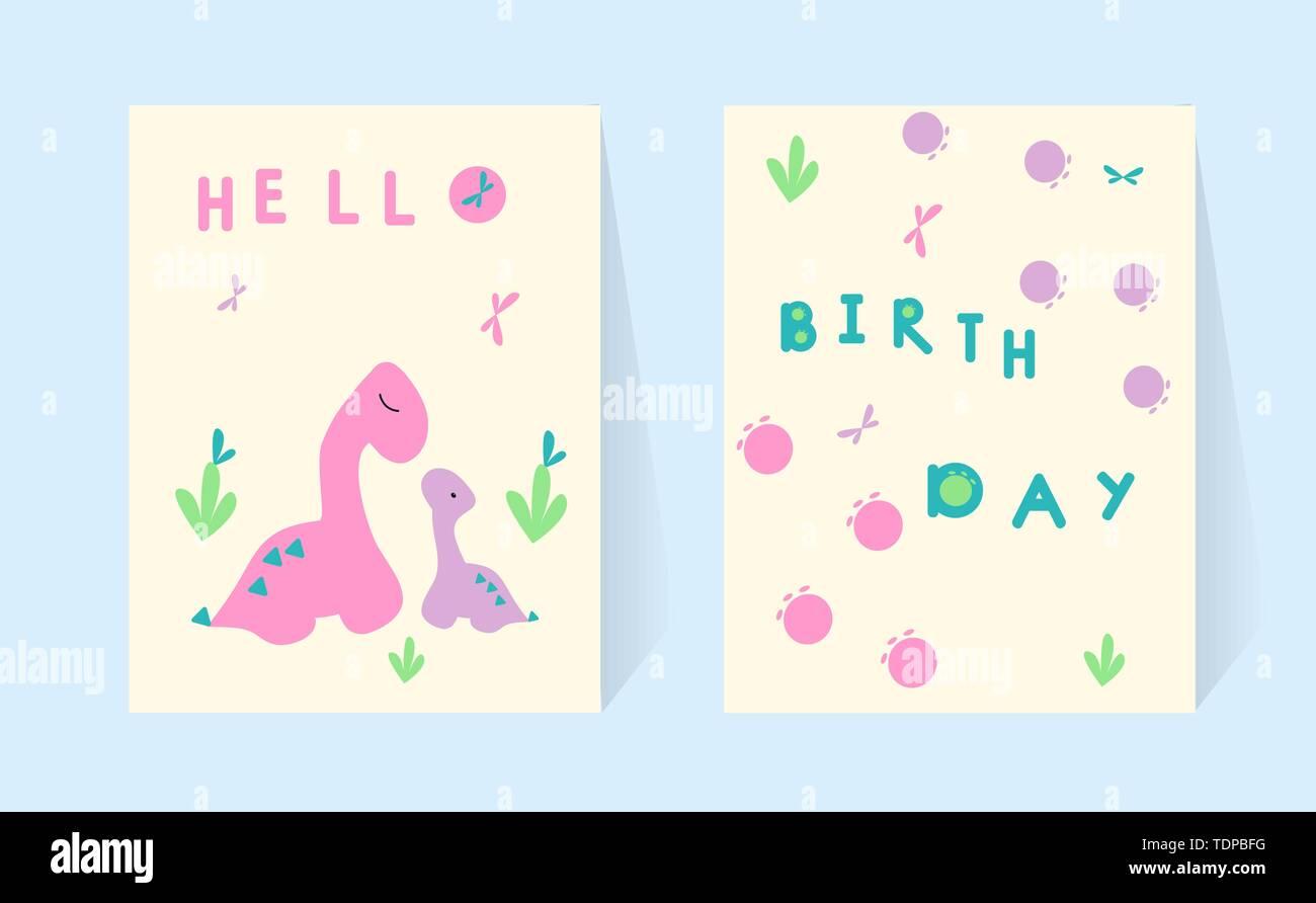 Set Karten Mama und Baby. Dinosaurier. Alles Gute zum Geburtstag Gruß. Doodle poster Beschriftung von Hand gezeichnet. Skizze. Rosa und Mint Farbe. Geometrische Formen Dino Vec Stockbild