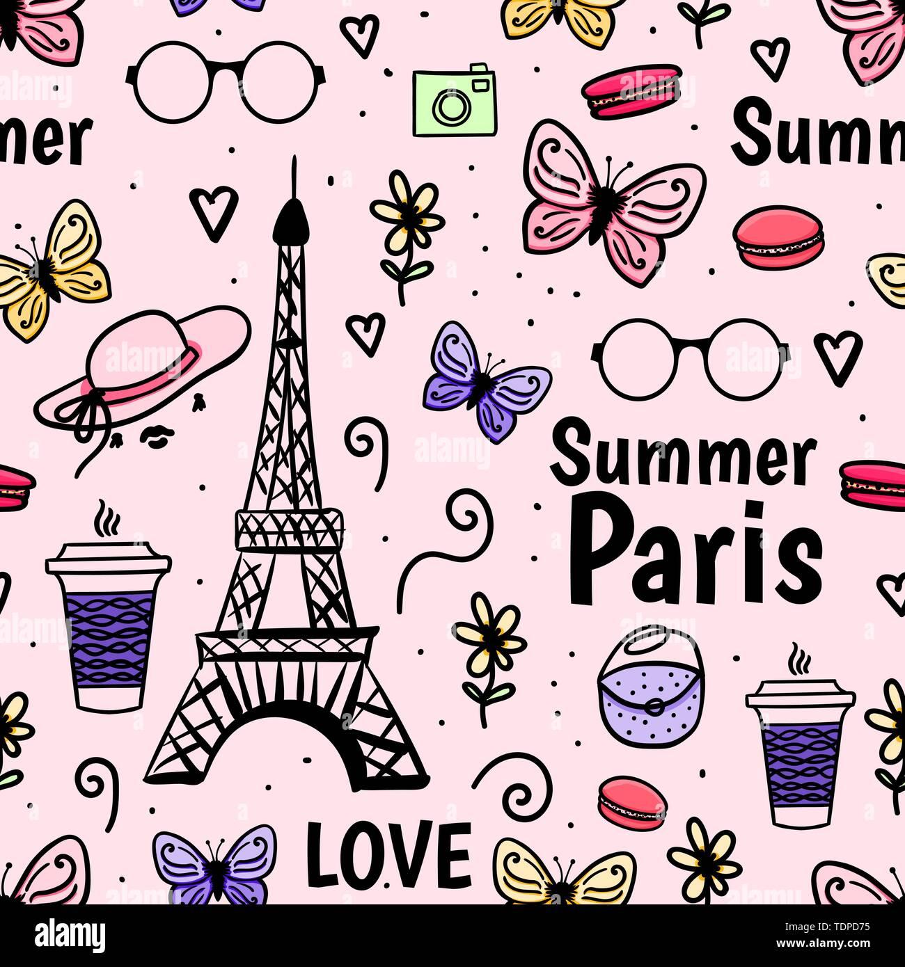 Sommer Paris mit Eiffelturm, Schmetterling. Vektor nahtlose Muster. Weiblich rosa Hintergrund. Stock Vektor