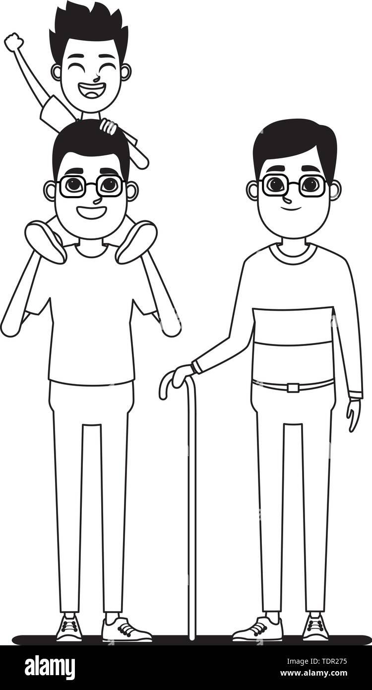 Familie avatar Vater mit Brille tragen ein Junge in der Schulter und Großvater mit Brille und Zuckerrohr Profil Bild Cartoon Stockbild