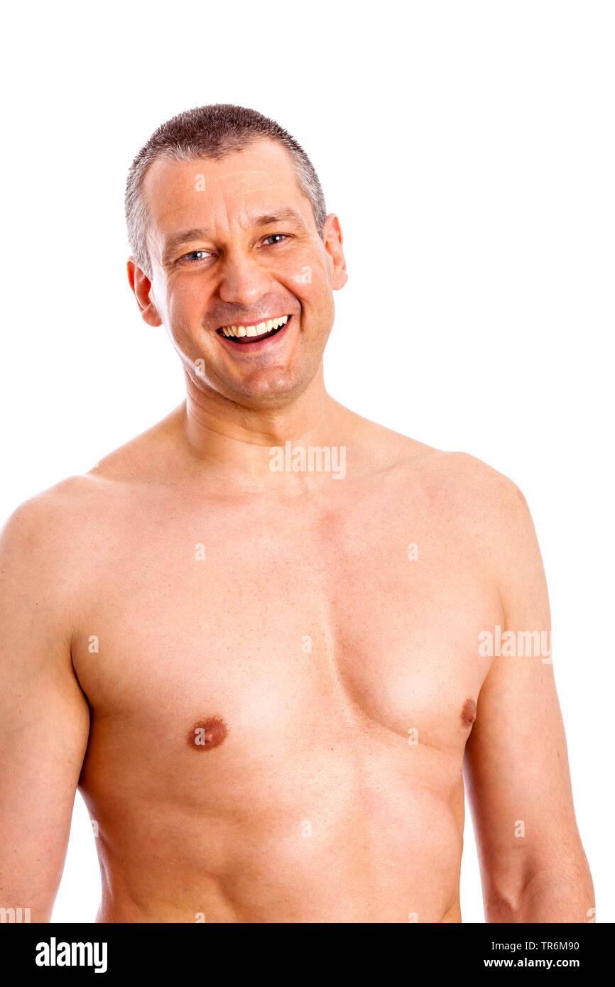 Mann mittleren Ändert mit nacktem Oberkoerper, Deutschland | stattlicher Mann mit entblößtem Oberkörper, Deutschland | BLWS 486826.jpg [(c) Blickwinkel/McPHOTO/M. Stockbild