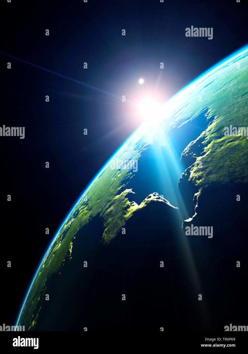 Ein grüner Planet im Weltall bei Sonnenaufgang, Computergraphik, Virtuelle Welten | gree Planeten mit Leben im Weltraum, virtuelle Welten, Comput Stockbild