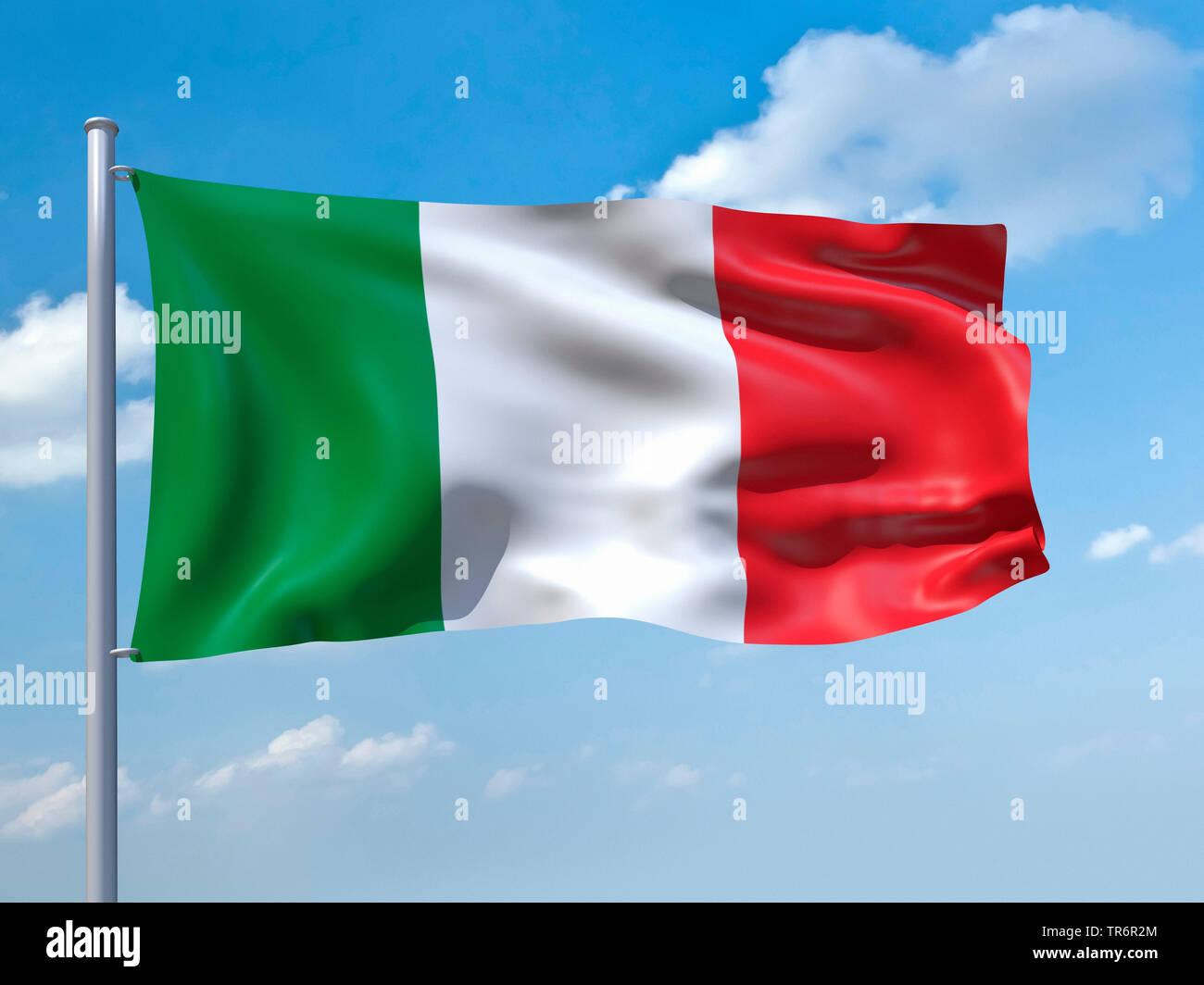 Im Wind wehende Flagge Italiens vor blauem Himmel, Italienisch   im Wind Italien Flagge weht in den blauen Himmel, Italien   BLWS 489197.jpg [(c) blickwink Stockbild