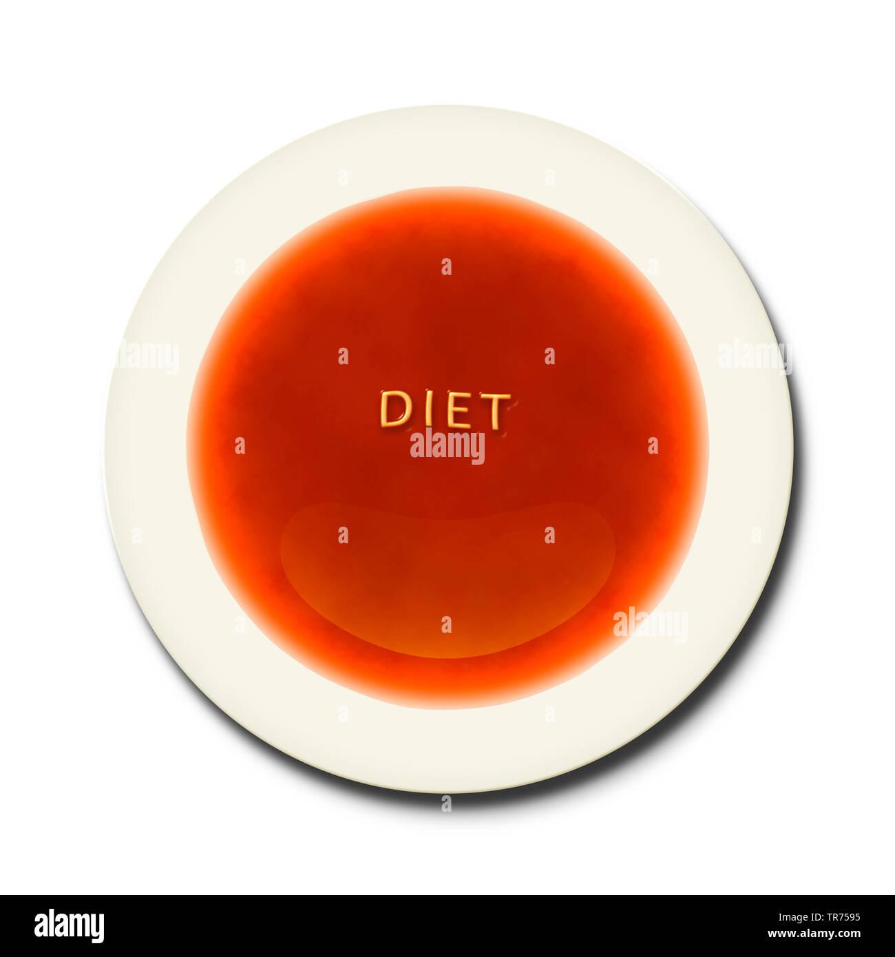 3D-Computergrafik, symbolizierte Teller mit Tomatensuppe und Aufschrift Diät (DIAET) | 3D Computer Grafik, symbolische Platte mit Tomatensuppe Schriftzug Stockbild