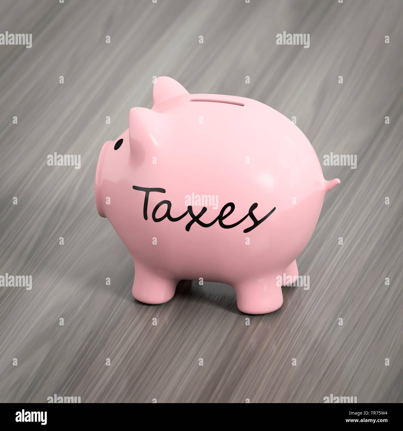 Rosa Sparschwein mit dem Wort steuern Stockfoto