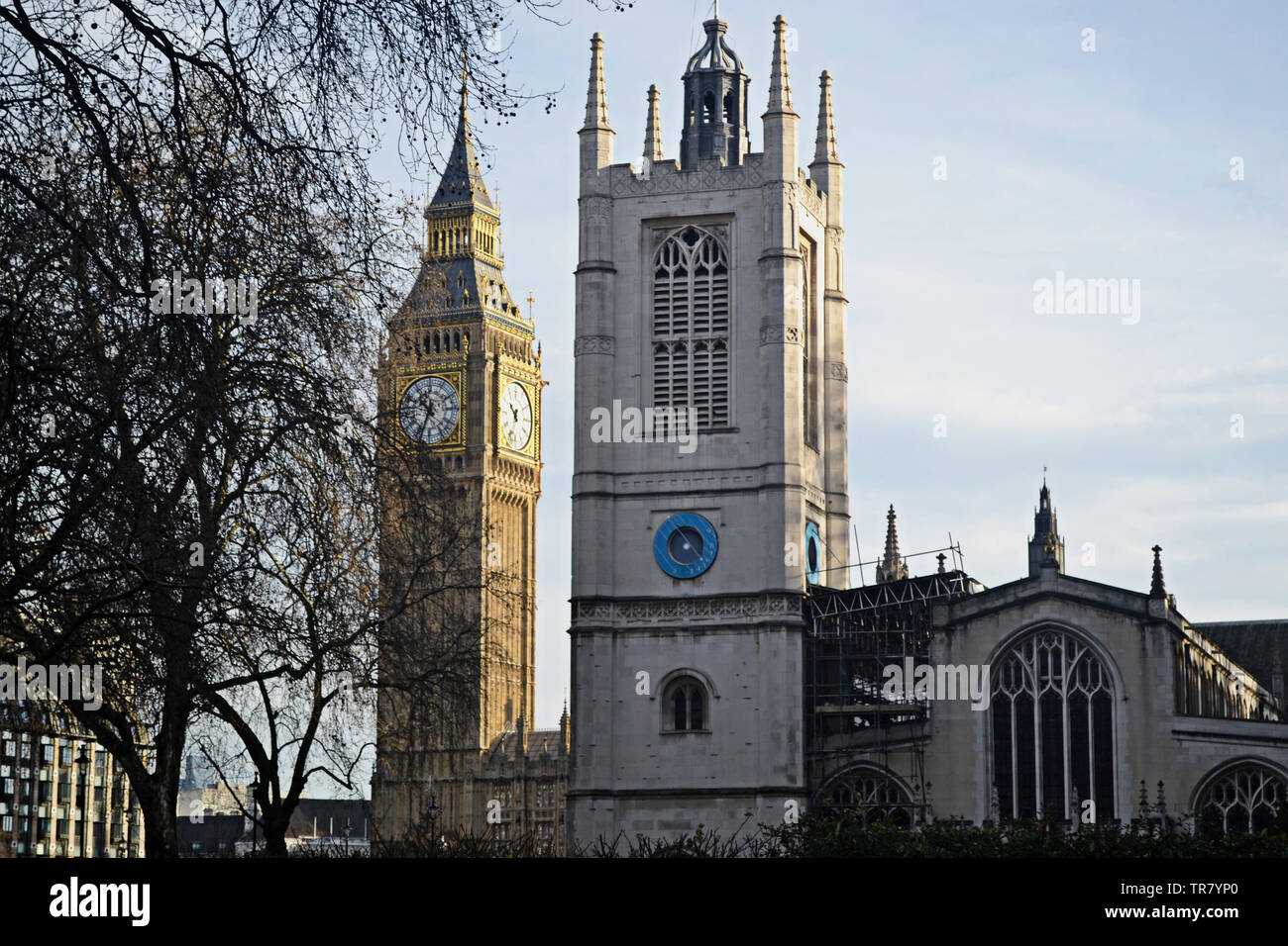 Big Ben bezeichnet die mit 13,5 t Gewicht schwerste der fünf Glocken des berühmten uhrturms am Palace of Westminster in London. Westminster Abbey. Stockbild
