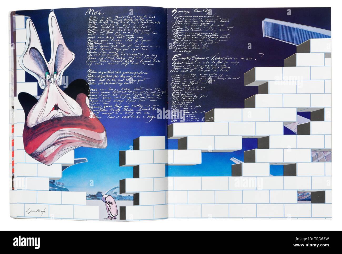 Abbildungen aus dem Film von Gerald Scarfe und Songtexte in der Pink Floyd The Wall Gitarre Tabulatur Buch Stockbild