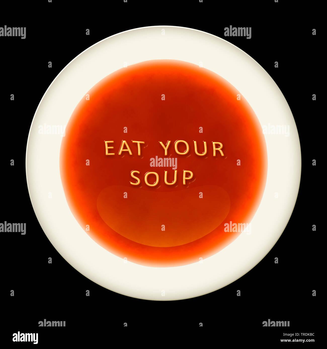 3D-Computergrafik, symbolizierter Teller mit Tomatensuppe und Aufschrift ESSEN SIE IHRE SUPPE (Esse Deine Suppe), Europa | 3D Computer Grafik, symbolische Plat Stockbild