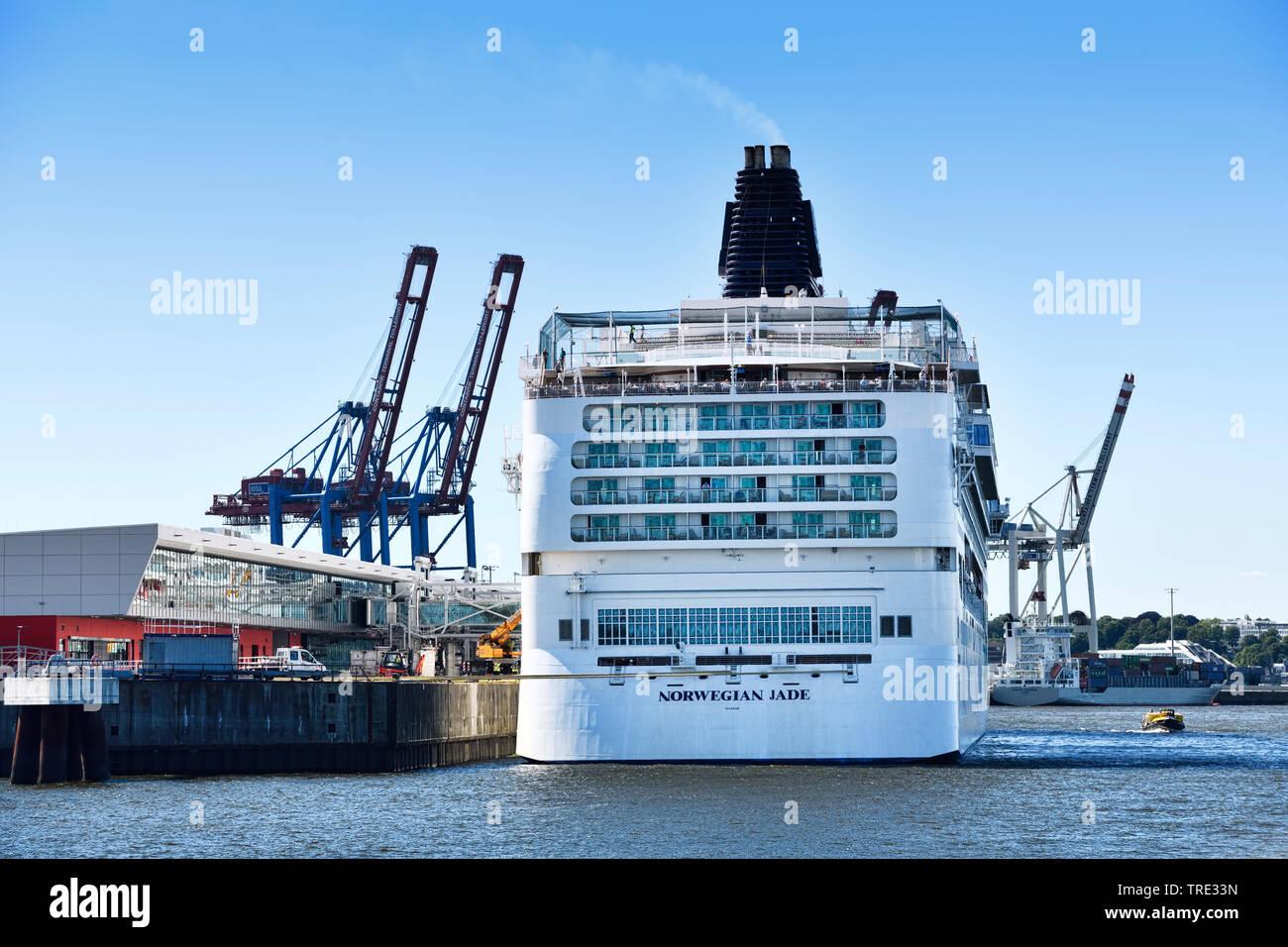 Kreuzfahrtschiff Norwegian Jade am Cruise Center Steinwerder, Deutschland, Hamburg   Kreuzfahrtschiff Norwegian Jade am Cruise Center Steinwerder, Deutschland, Stockbild