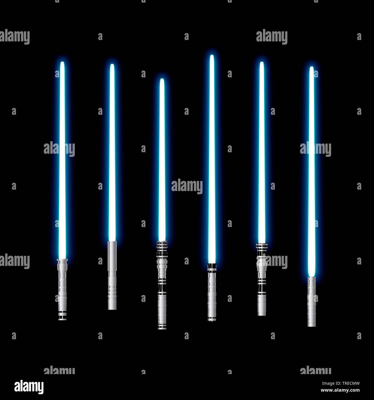Blaue Laserschwerter auf schwarzem Untergrund, Computergraphik | Darstellung einiger Blue Laser Light Saber | BLWS 523075.jpg [(c) Blickwinkel/McPHOT Stockbild