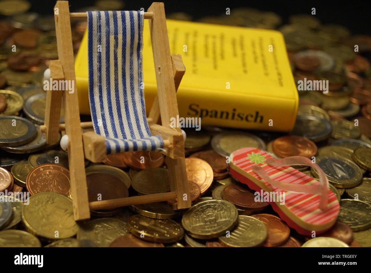 Urlaub Geld - die Kosten der Reisen Stockfoto