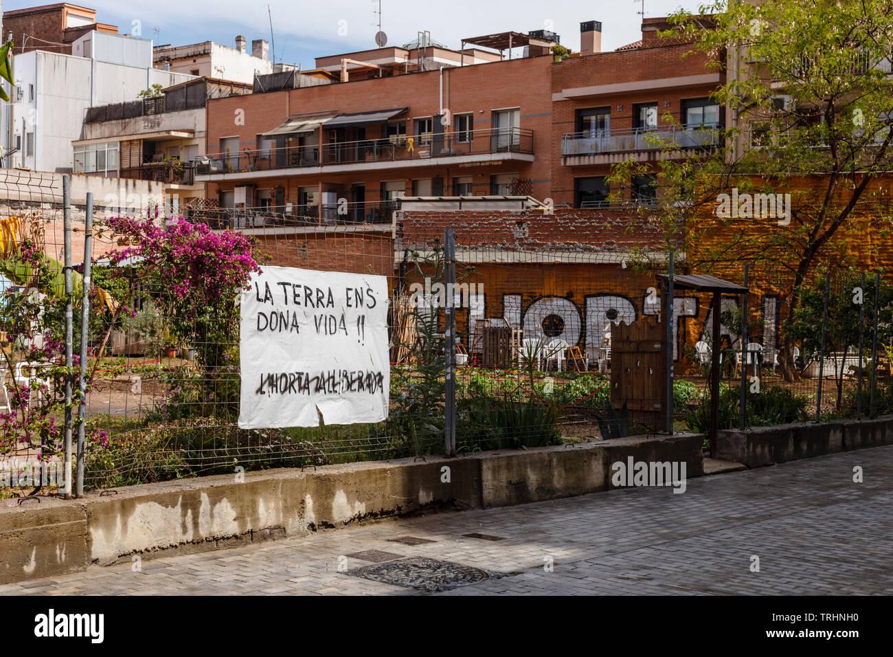 L'Horta Liberada de Sants, einem städtischen Garten von den lokalen Bewohnern zurückgefordert Stockbild