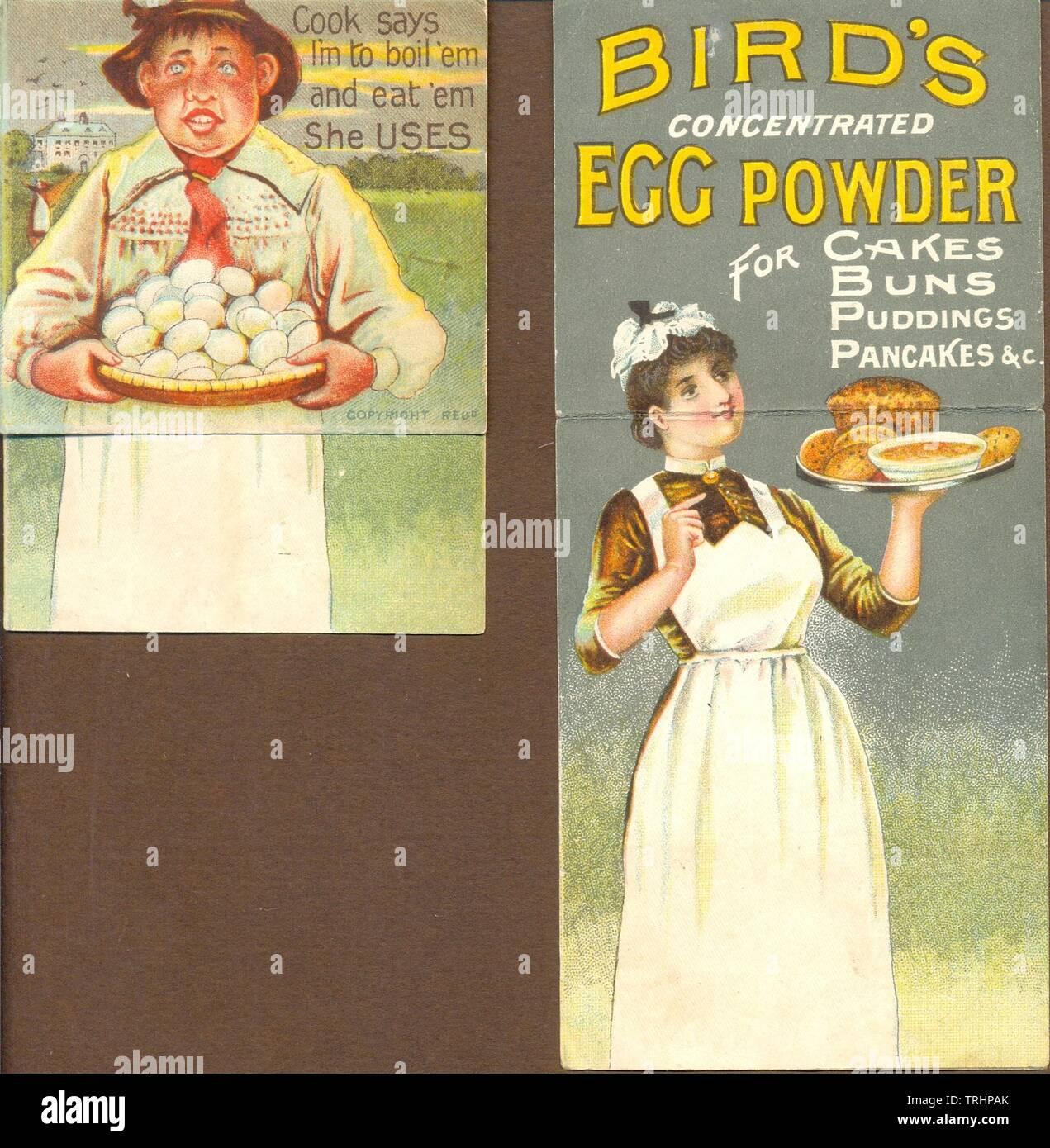 Bewegliche Werbung für Bird's Ei Pulver ca. konzentriert 1890 Stockfoto