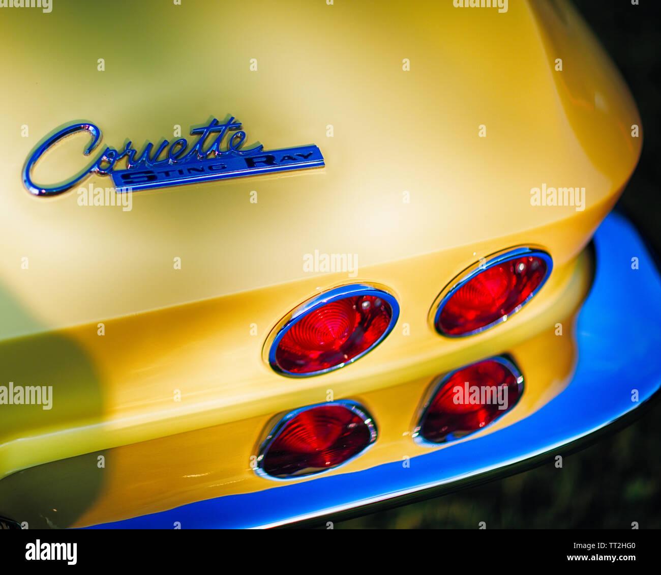 Nahaufnahme eines die Rückleuchten eines 1967 Chevrolet Corvette Sting Ray Sportcoupé Stockfoto