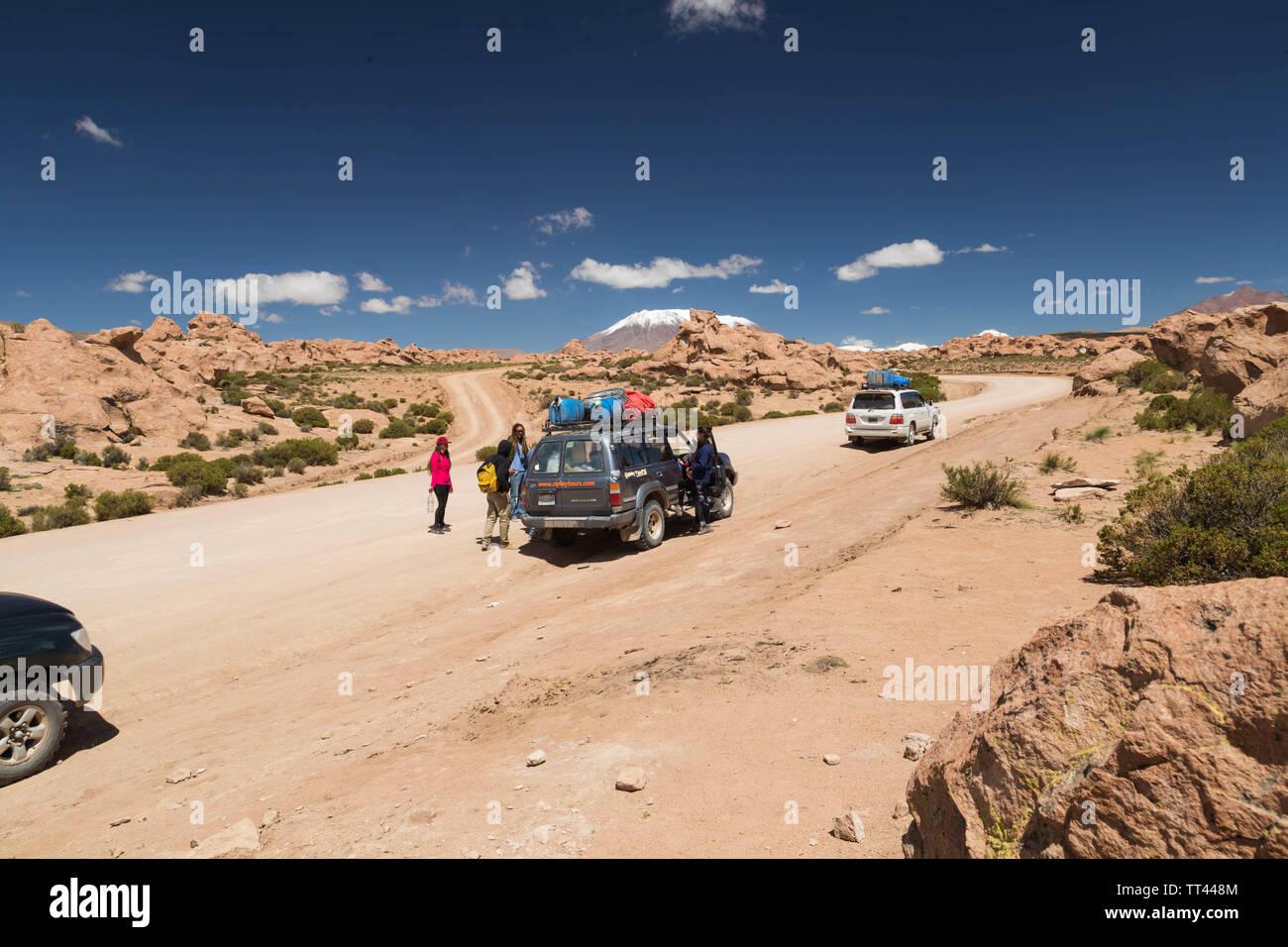 Jeepfahrt in Bolivien Wüste, Bolivien Stockfoto