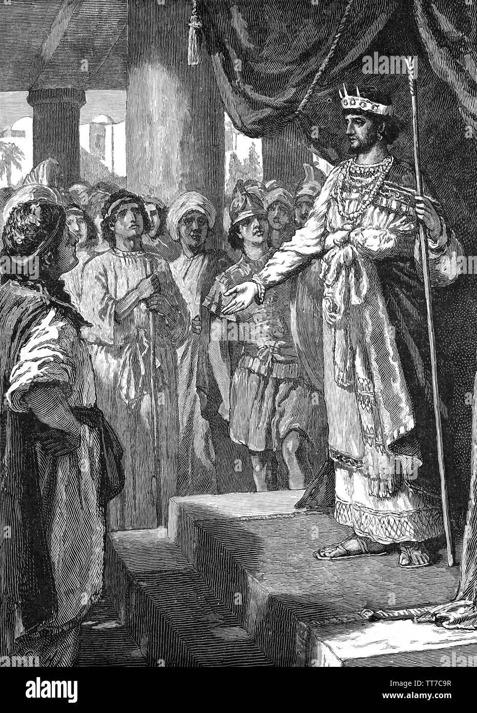 Rehabeam war der vierte König von Israel, Sohn und Nachfolger Salomo. Zunächst König des vereinigten Monarchie Israel, sondern nach der zehn nördlichen Stämme Israels in 932/931 v. Chr. rebellierte das unabhängige Königreich Israel (Samaria), unter der Herrschaft Jerobeams, Rehabeam blieben als König des Königreichs Juda oder südlichen Königreich. Der neue König versucht, die Empfehlungen der jungen Männer, die er mit aufgewachsen waren, riet ihm keine Schwäche zu den Menschen zu zeigen, und sie zu steuern Noch mehr, das Rehabeam tat. Stockbild