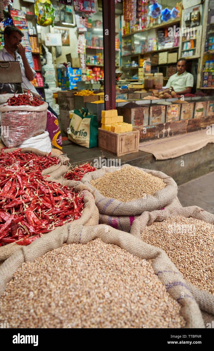 Gewürze auf Devaraja Obst- und Gemüsemarkt, Mysore, Karnataka, Indien Stockbild