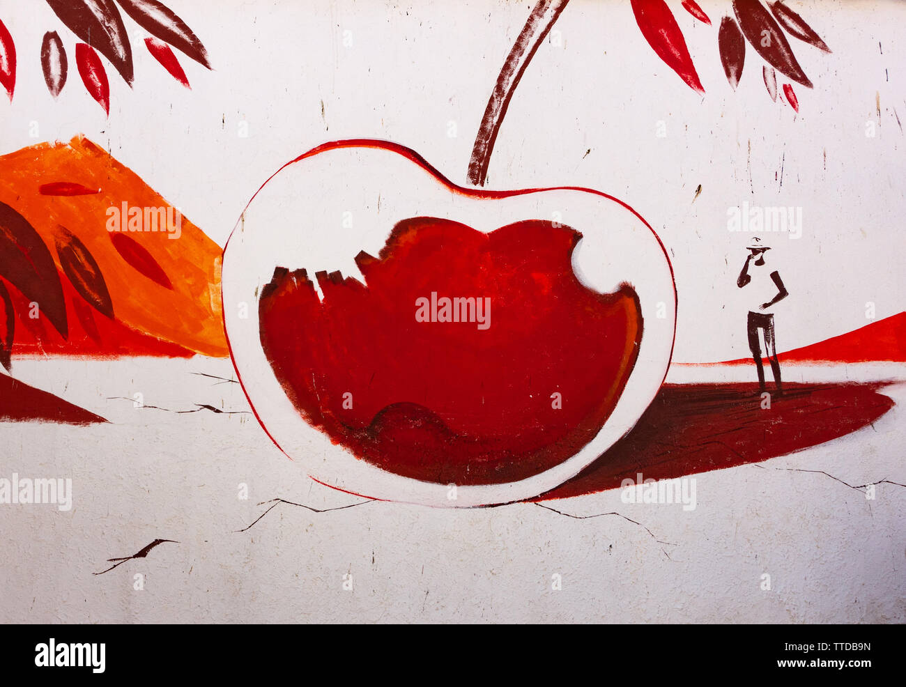 Grafik Malerei einer Kirsche das Festival von Kirschen in Spanien zu gedenken. Stockbild