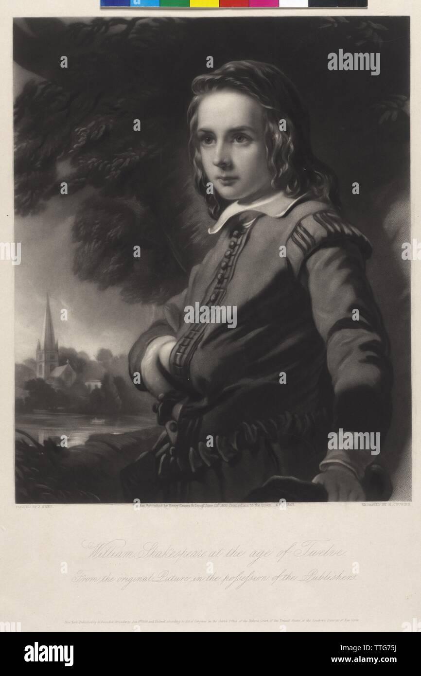 Shakespeare, William, Portrait eines Jungen im Alter von zwölf Jahren. schabkunstblatt von Henry Cousins basierend auf einem Gemälde von James Sant, Artist's Urheberrecht nicht geklärt zu werden. Stockbild