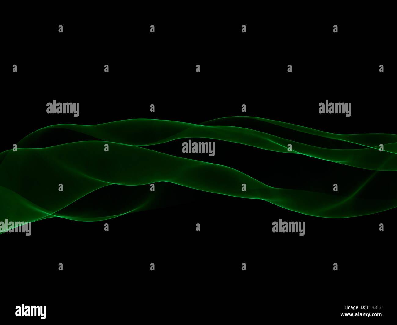 Ethereal Smokey grünes Laserlicht Trail Stockbild