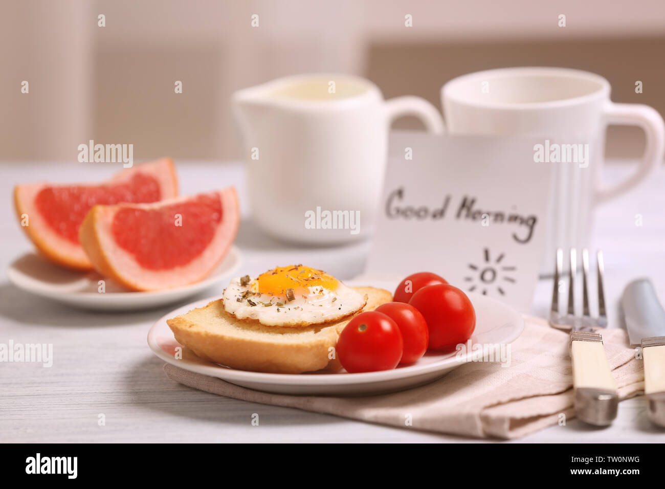 Köstliches Frühstück Und Guten Morgen Gruß Hinweis Auf