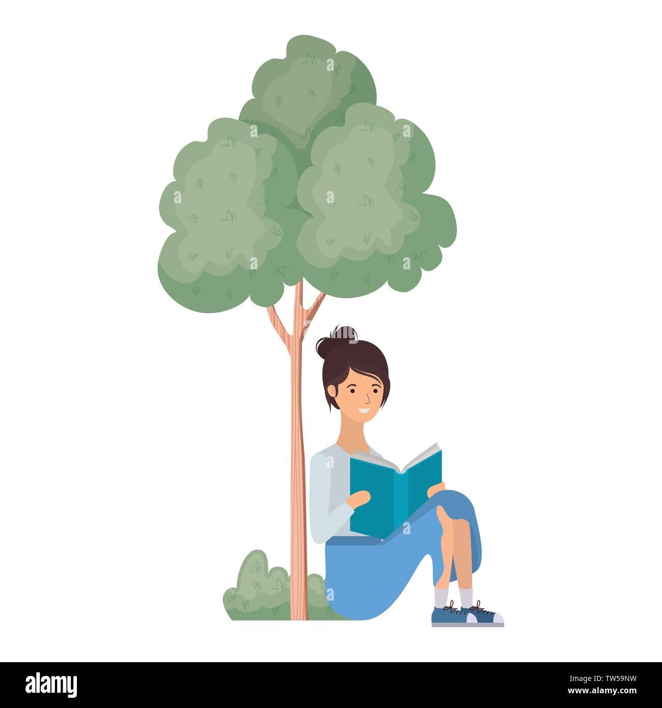 Sitzende Frau mit Buch in der Landschaft mit Bäumen und Pflanzen Stockbild