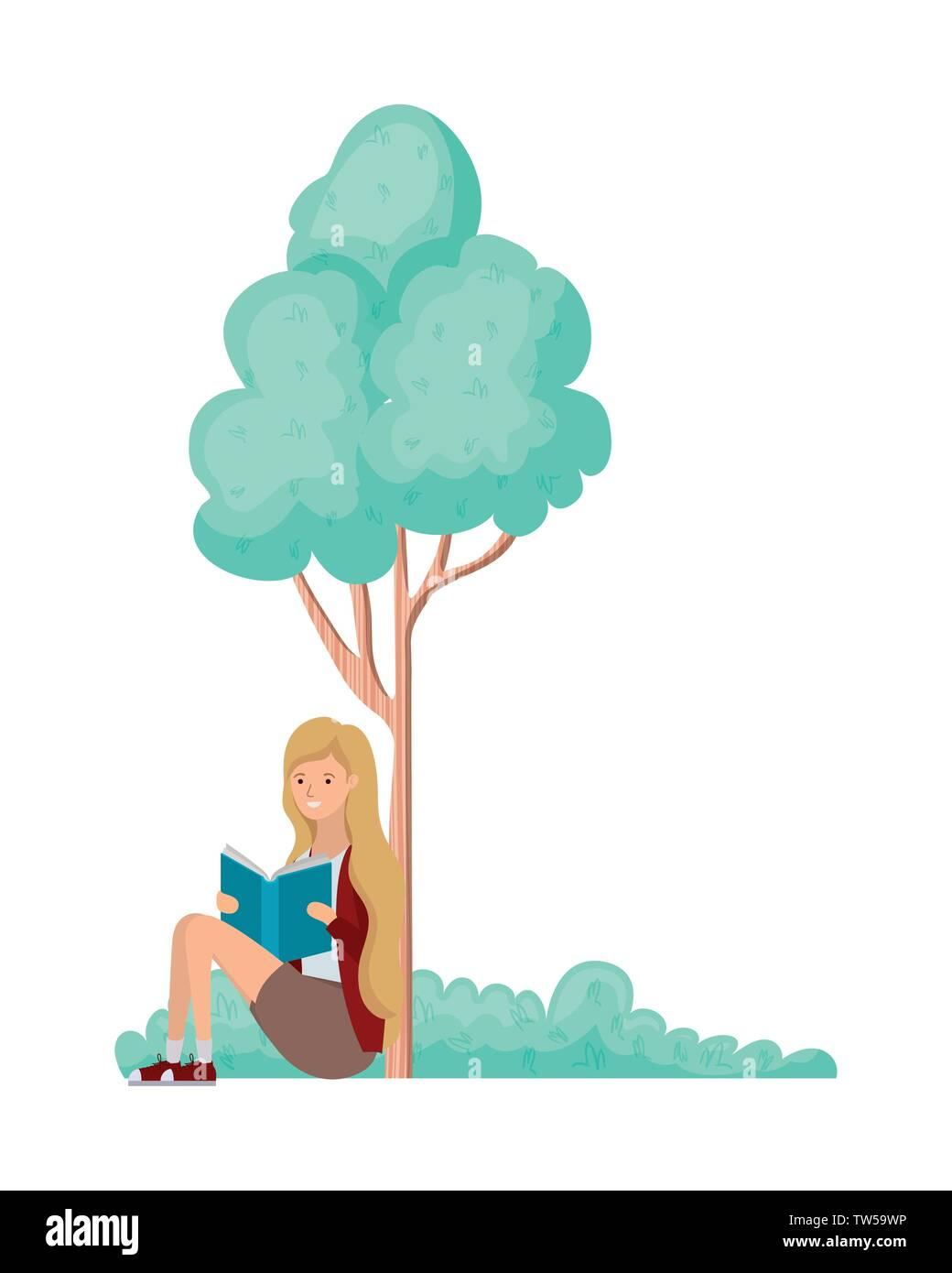 Sitzende Frau mit Buch in der Landschaft mit Bäumen und Pflanzen Stock Vektor