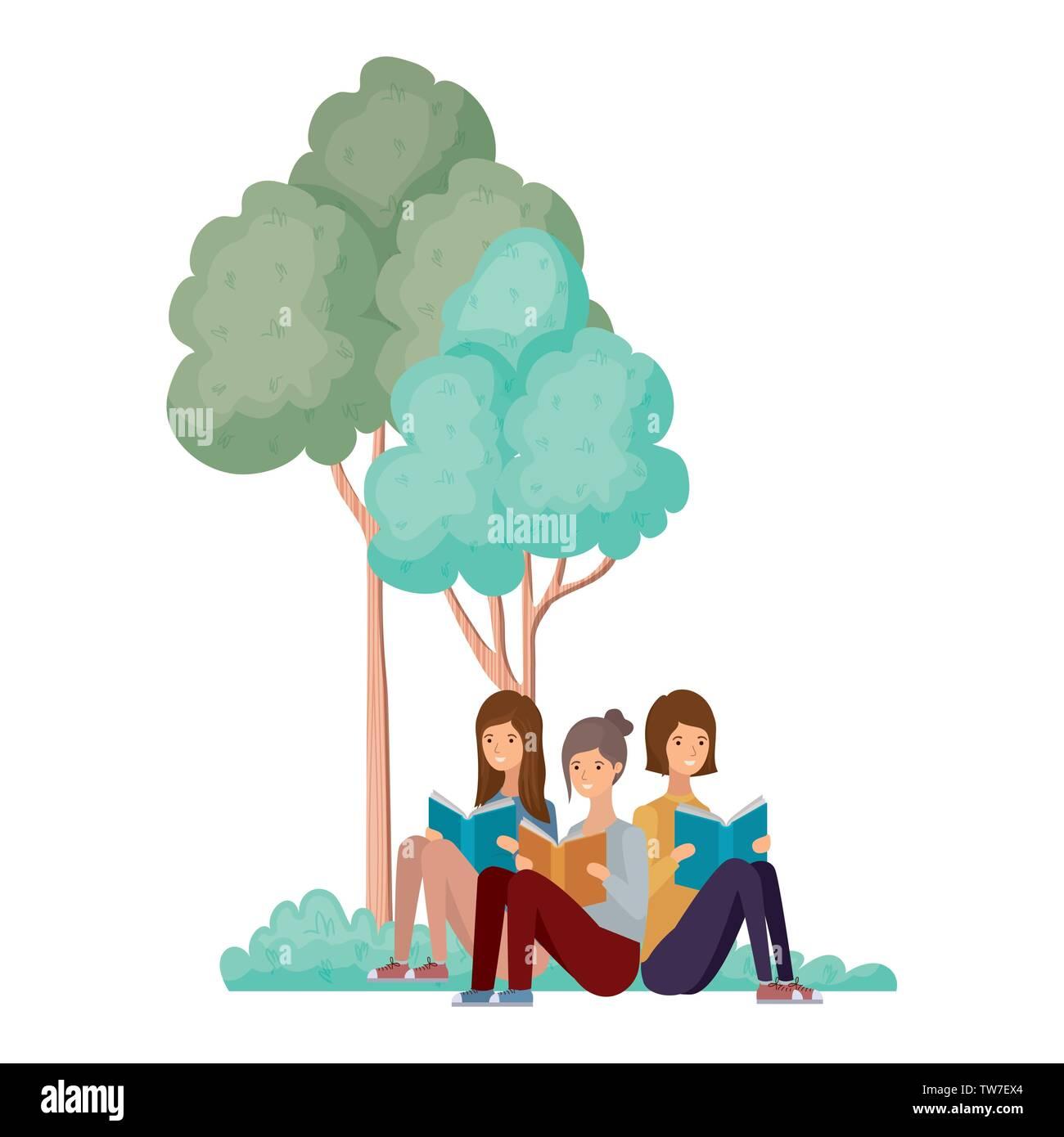 Frauen sitzend mit Buch in der Landschaft mit Bäumen und Pflanzen Stockbild