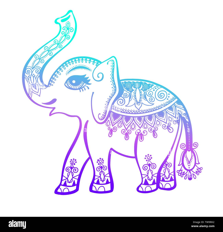 Tribal Ornament, indische vintage Grafik ethnischen Elephant ...