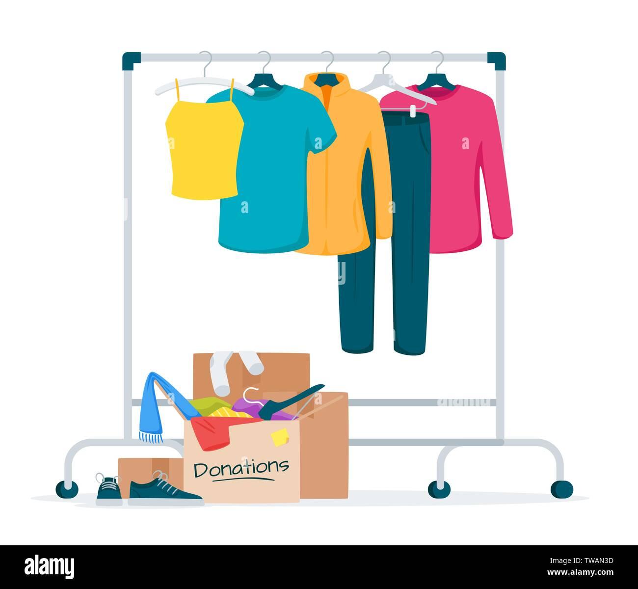 gebrauchte kleider spenden flachbild vector illustration