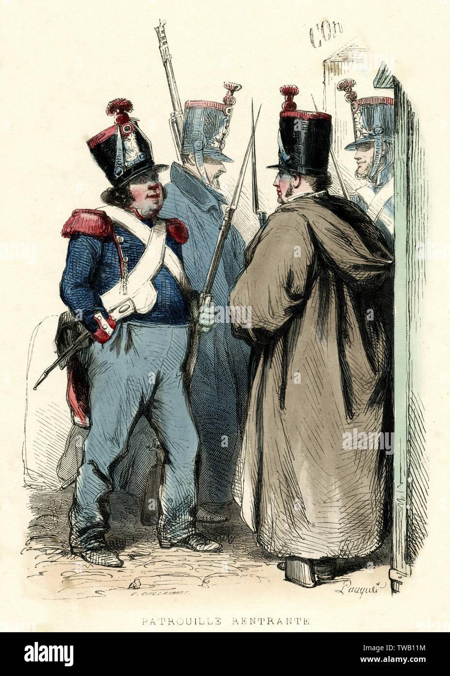 Französischen Nationalgarde der Rückkehr von patrol Datum: 1850 Stockfoto