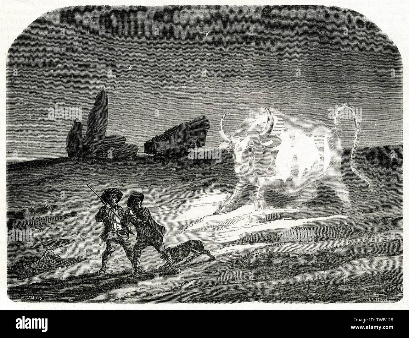 Die GRAND'BETE (= große Tier) ist ein unheimlich Monster von Berry, Frankreich, in der Regel in Form einer riesigen Stier, zwar manchmal wie ein Hund, Hase und Schaf - aber immer gigantischer Datum: 1851 Stockfoto