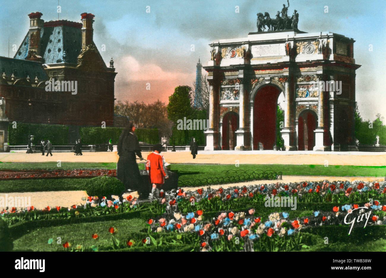 Paris, Frankreich - Place de L'Arc de Triomphe du Carrousel Datum: ca. 1940 Stockfoto