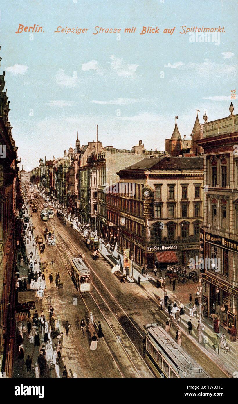 Luftaufnahme von Leipzigerstrasse und Spittelmarkt, Berlin, Deutschland. Datum: ca. 1905 Stockfoto